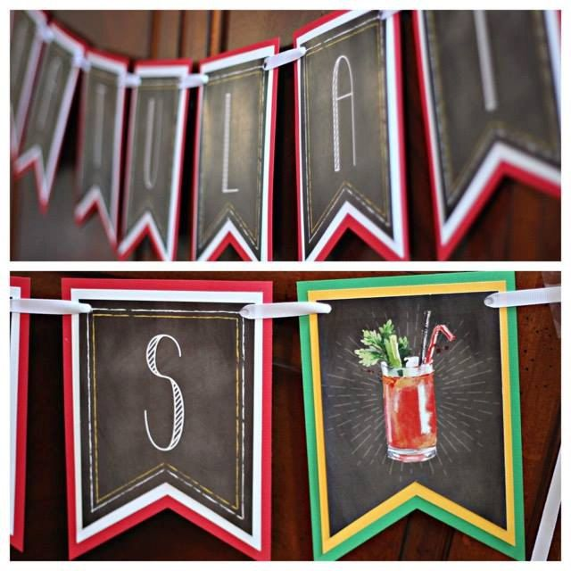 """Bloody Mary Bar """"Congratulations"""" banner.  Physical Product.  Chalkboard / red / yellow. by CharmingTouchParties on Etsy"""