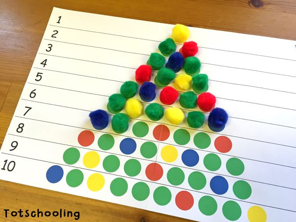 Awesome way to help kids practice counting, one-to-one correspondence and colors.