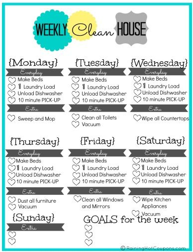 FREE Printable Weekly House Cleaning List - Keep your house spotless!