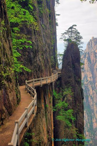 Amazing how many places have these narrow pathways... Cliffside Path, Huangshan, Anhui,