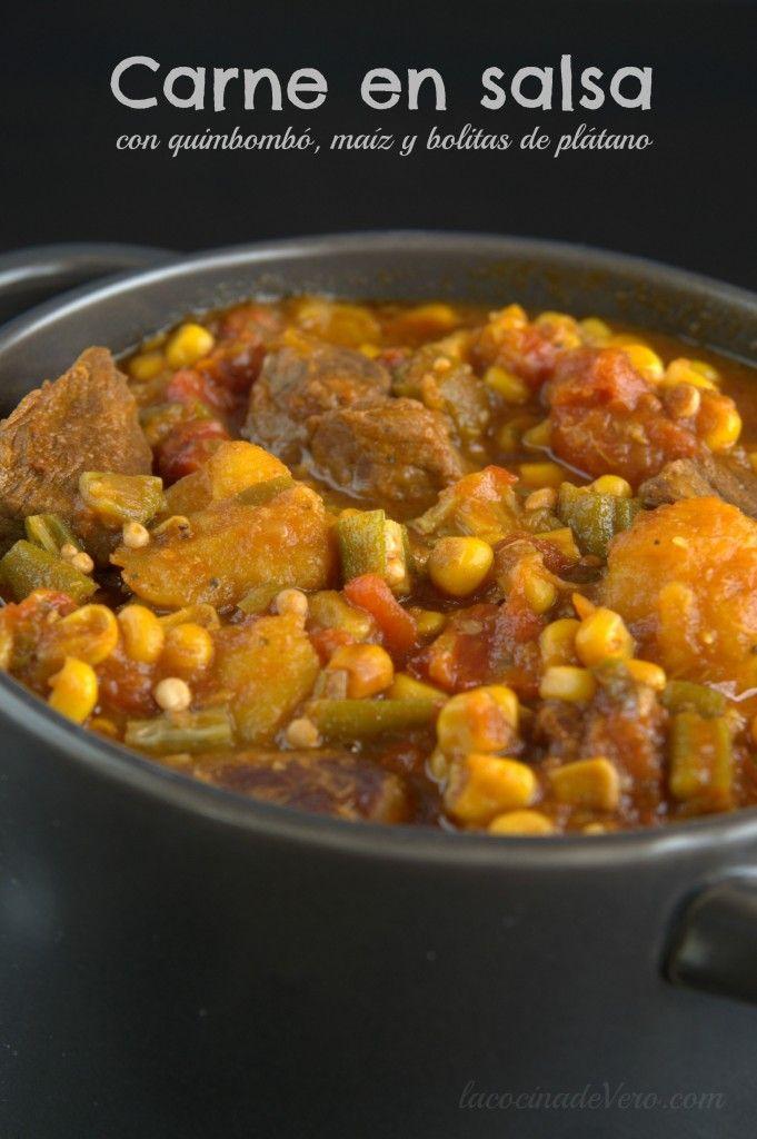 Una receta cubanísima y deliciosa: Carne en salsa con quimbombó, maíz y bolitas de plátano. Especial para un domingo familiar o para cuando tienes visita.