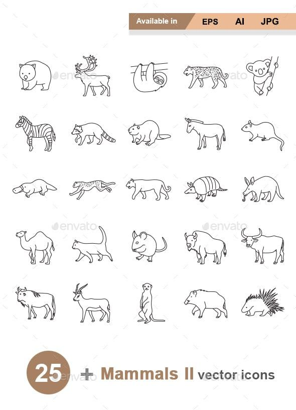 Mammals Ii Outlines Vector Icons By Naripuru Graphicriver Giraffe Tattoos Small Tattoos Tiger Tattoo Small