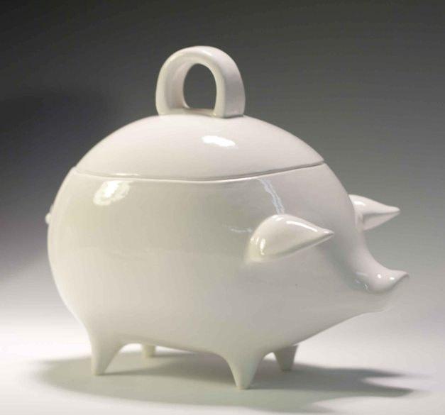 White Salt Pig Or Jar Mexican Style Piggy Bank By Apiecebydenise · Pig  KitchenKitchen DecorKitchen ...