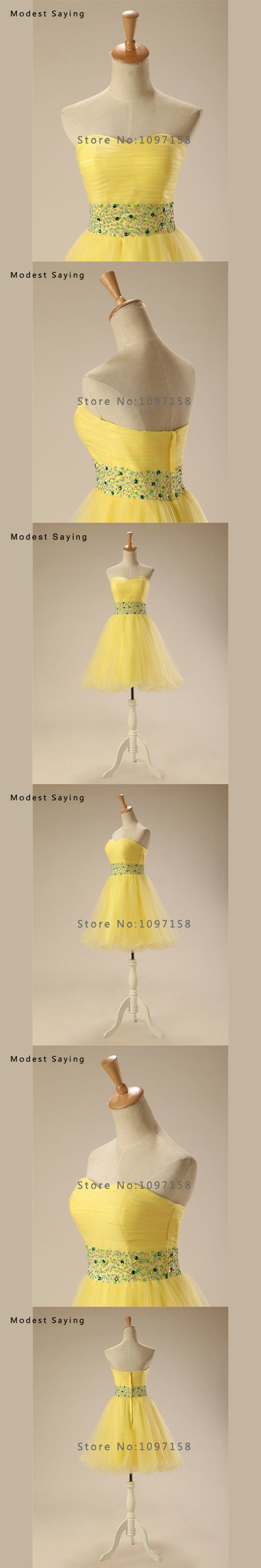 Sexy Yellow A-Line Sweetheart Mini Pleat Beaded Cocktail Dresses 2017 Girls Formal Short Homecoming Prom Gown vestidos de coctel
