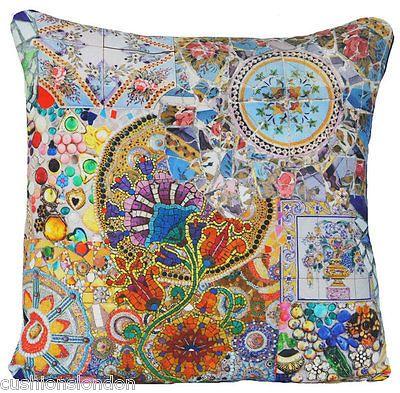 Blue-Cushion-Cover-Mosaic-Tiles-Throw-Pillow-Case-Printed-Fabric-Multicolour