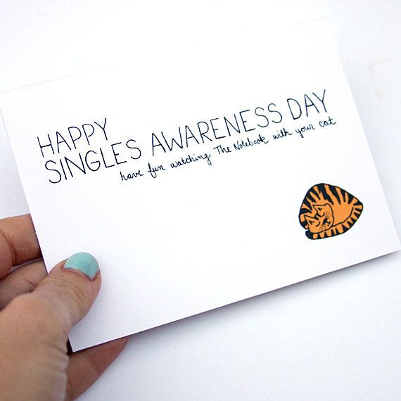 Anti Valentine Card. Single Awareness Day Card. Funny Valentines Day Card.  Have Fun Watching The Notebook. Orange, Black, White.. $4.00, via Etsy.