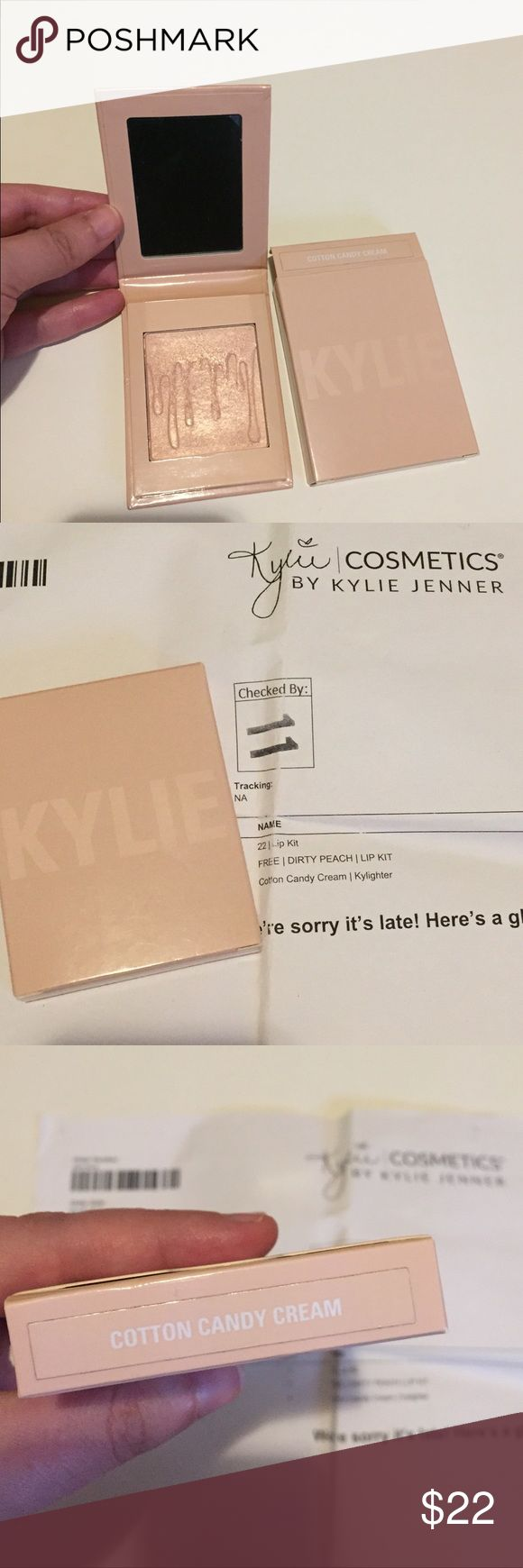 Cotton Candy Cream Kylighter . New in box. 100% authentic Kylie cosmetics Kylighter  in shade: cotton candy cream. I purchased all the kylighters from Kylie's website. This was swatched once,  this one doesn't match my skin color, it was swatched only once. Its in new condition with the box and receipt. Authentic!!! You can see the authentication number on the last photo. No trade. Kylie Cosmetics Makeup Luminizer