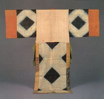 菱模様下襲. Costume of Japanese Bugaku. The kimono of the Muromachi era.