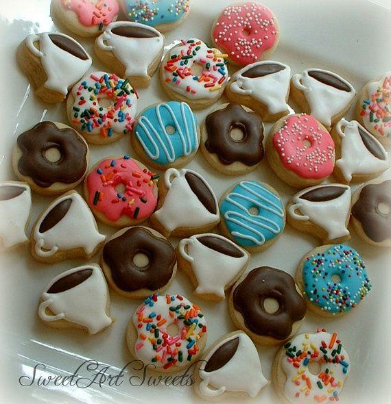 Coffee and donut cookies 2 dozen mini cookies by SweetArtSweets
