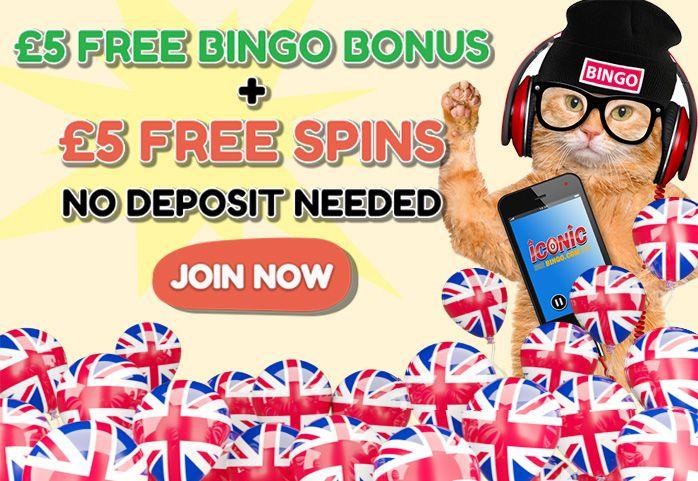 Most Popular Bingo Sites UK: Iconic bingo provide £5 free bingo bonus + 5 free ...