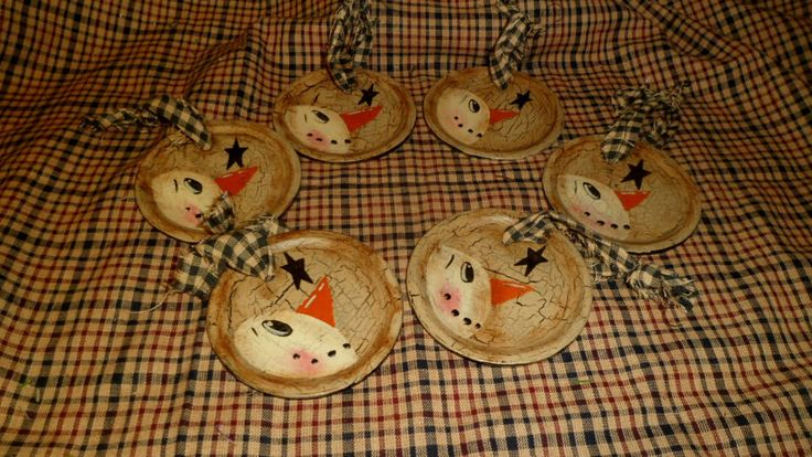 PRIMITIVE NO WOOD SNOWMAN HANG TAG ORNAMENT CRACKLE STAR COUNTRY CHRISTMAS DECOR #Country