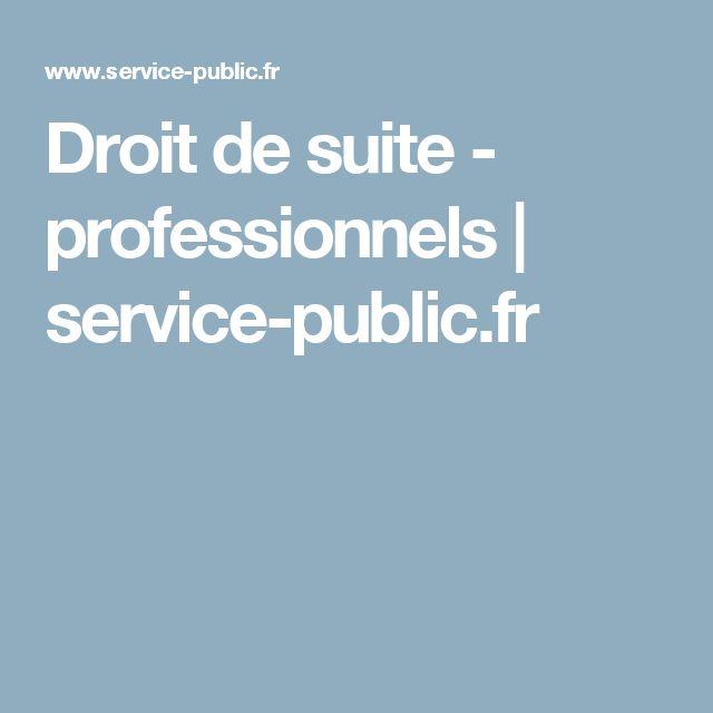Droit de suite - professionnels | service-public.fr