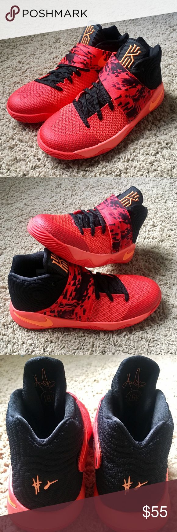 Boys 6.5Y Nike Kyrie Irving 2 Boys 6.5Y Kyrie 2 - Inferno Bright Crimson/Atomic Orange-Black - Nearly new - only less than 10 times mostly in the gym so no outdoor wear Nike Shoes Sneakers