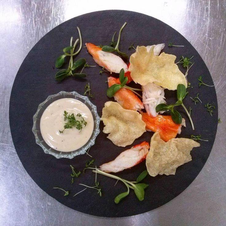 Kamchatka crab truffle mayonnaise corn chips sunflower.  Камчатский краб трюфельный соус кукурузные чипсы ростки подсолнечника. Проработка нового меню. by evgeny_nasyrov