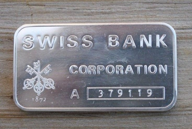 * SWISS BANK CORPORATION * 1 oz Silver Bar *