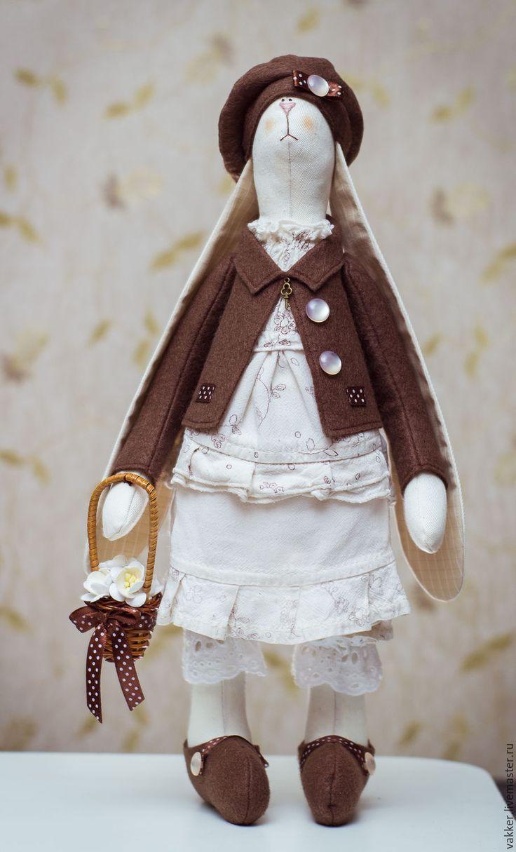 Купить текстильный заяц - коричневый, ручная работа handmade, кукла Тильда, текстильная кукла