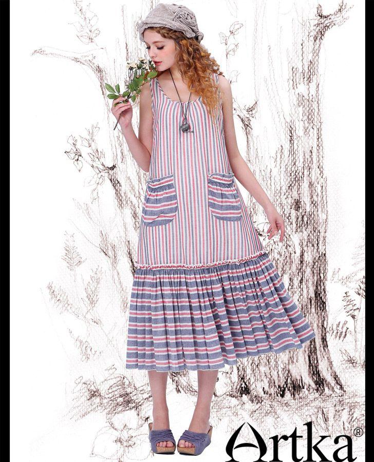 Artka женская весна простой романтический все матч длинные складки подол красный и синий полосатый пляж длинные сарафан LA10548X, принадлежащий категории Платья и относящийся к Одежда и аксессуары на сайте AliExpress.com   Alibaba Group