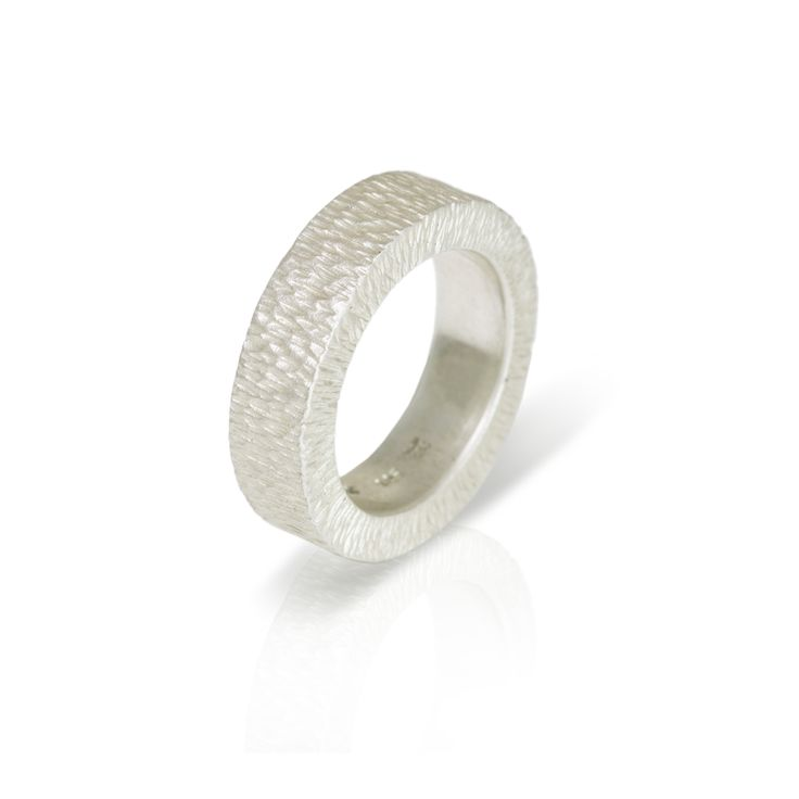 Chunky Silver Band Ring with Beaten Finish Cast in Solid Silver with a tightly Beaten Finish. 6.5mm wide  X 3.5mm high. Suitable for Men and Women.