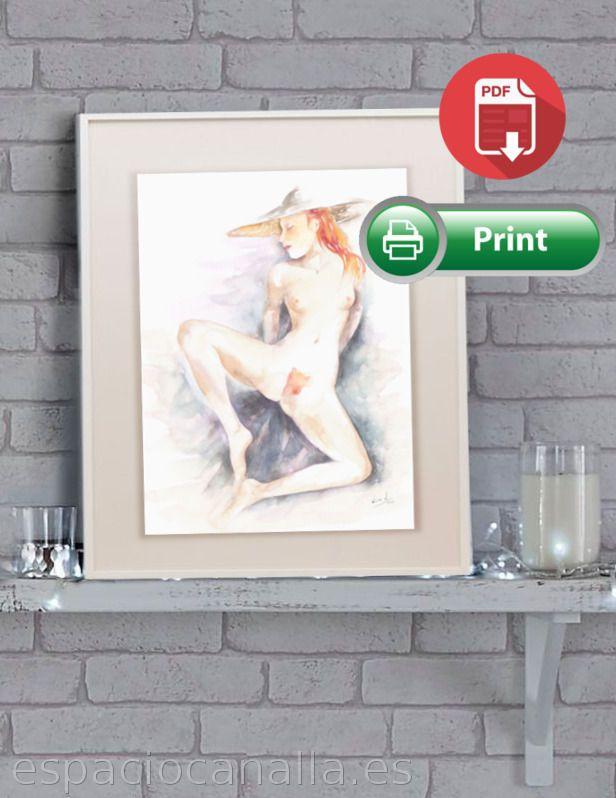 Acuarela, arte para imprimir, erótico chica desnuda pelirroja de EspacioCanalla en Etsy