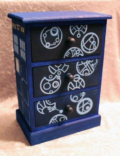 Tardis Doctor Who Gallifreyan Language Hand Painted Wood Jewelry Box | GeekGoddessCreations - Folk Art & Primitives on A