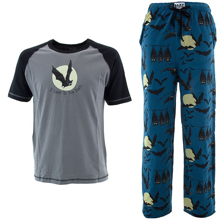Lazy One I Sleep in the Dark Bats Pajamas for Men - Click to enlarge