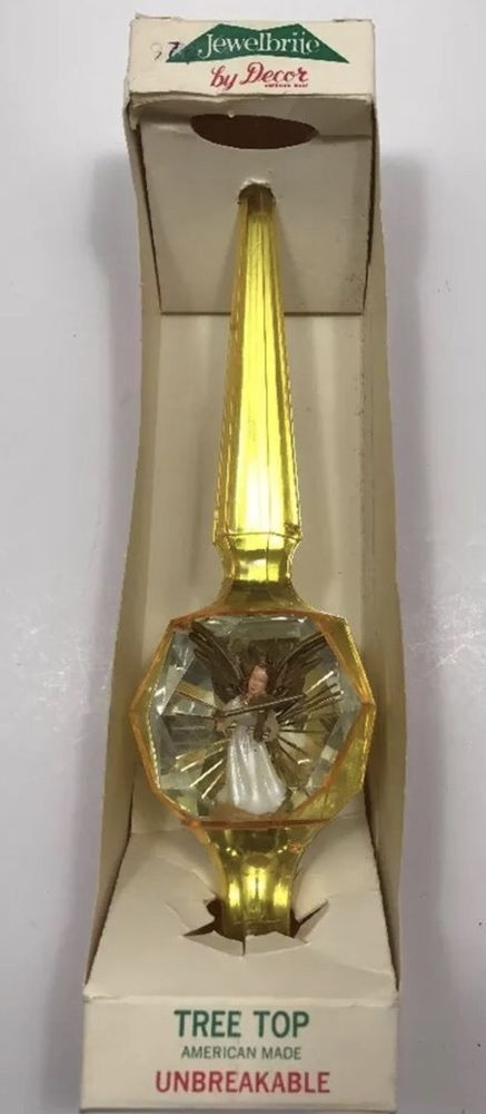 Vtg JewelBrite Angel Christmas Tree Topper No 40 Unbreakable Golden Yellow MIB  | eBay