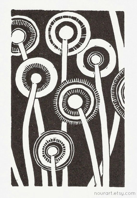 in the night linocut print 4x6 / printmaking / block by nourart, $15.00