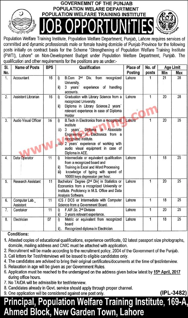 #  Title  Details  1  Jobs Location  Pakistan  2  Government / Private  Government  3  FPSC / PPSC / NTS / Others  Others  4  Published Date  30 Mar 2017 Thursday  5  Last Date to Apply  15 Apr 2017 Saturday  6  Newspaper Name  Nawa-e-waqt  Population Welfare Department Punjab Jobs 2017 for Population Welfare Training Institute Latest  Vacancies / Positions:-  Accountant  Assistant Librarian  Audio Visual Officer  Data Operator  Research Officer  Computer Lab Assistant  Caretaker…