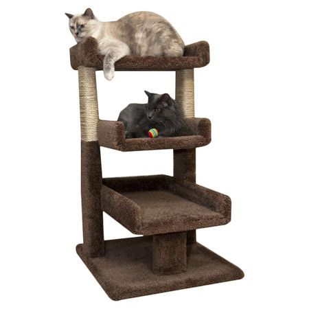 cat perch with 3 tiers and sisal scratching posts made in the usa product cat material wood carpet and sisal ropecolor