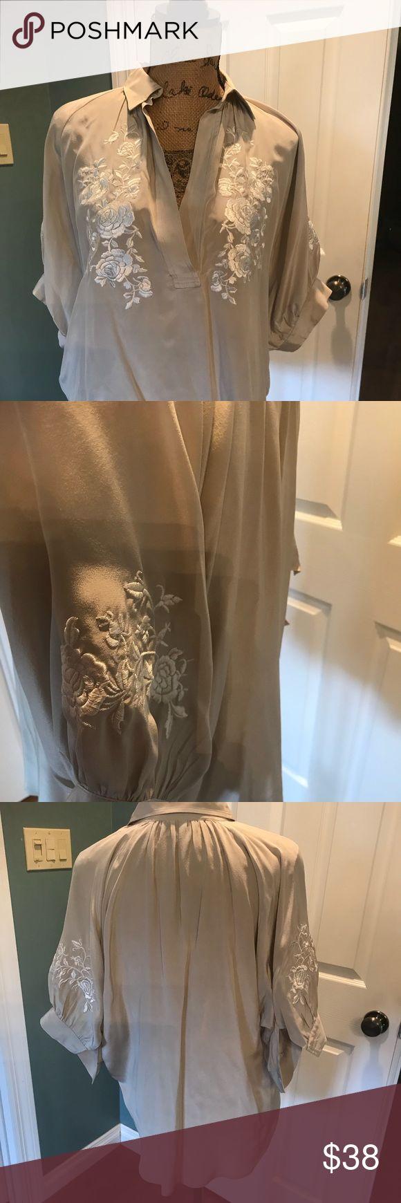 Fifteen Twenty-one Silk Short Sleeve Top Size M Beautiful Fifteen Twenty-one silk short sleeve top. Worn once. In perfect condition.  Size Medium. Fifteen Twenty-One Tops