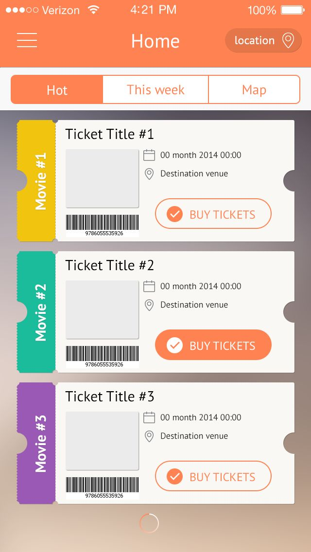 Ticketing app display. Flat.