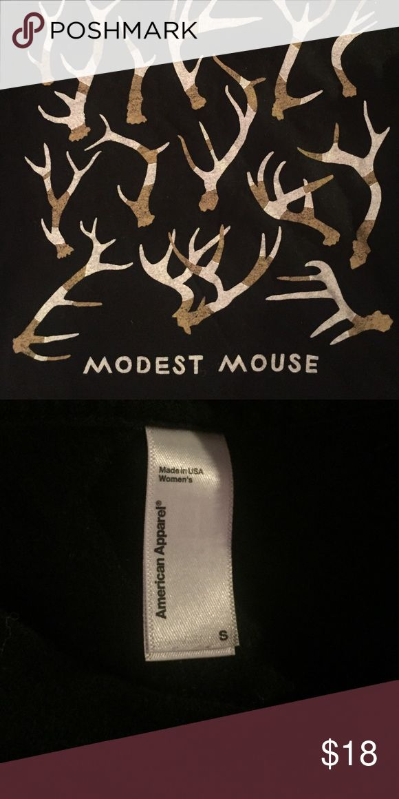 Modest mouse black band antlers shirt Limited and rare modest mouse tour shirt. Beautiful print on a comfy American apparel small black tshirt. Worn only a handful of times. American Apparel Tops Tees - Short Sleeve