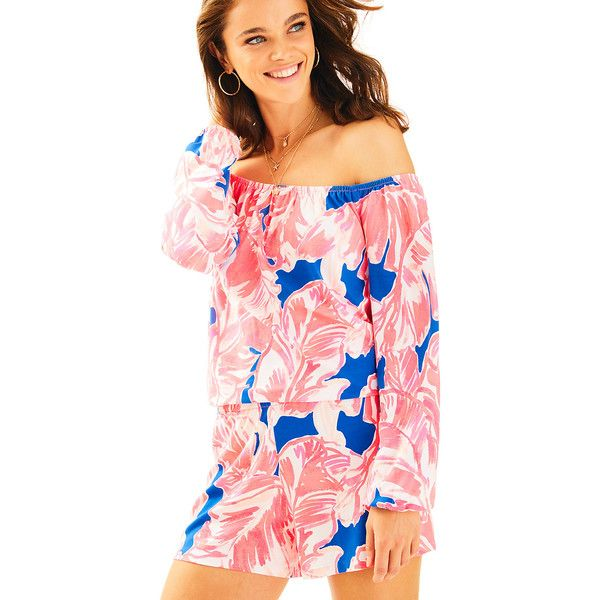 Lilly Pulitzer Lilly Pulitzer Lana Off The Shoulder Romper ($128) ❤ liked on Polyvore featuring jumpsuits, rompers, off shoulder romper, off the shoulder romper, playsuit romper, pink rompers and lilly pulitzer