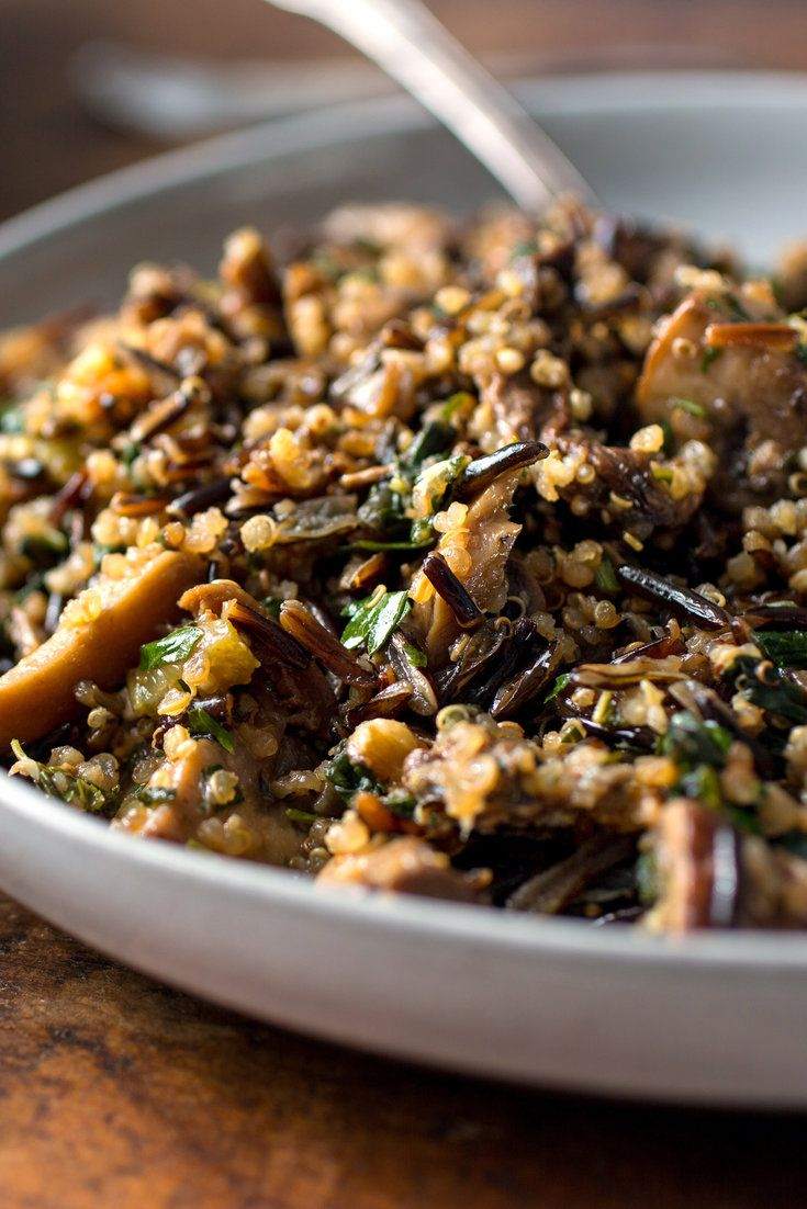 Call this savory mix of wild rice, quinoa, mushrooms, walnuts and greens a stuffing or a pilaf. It's not meant to go inside a turkey but it's imbued with the definitive flavors of Thanksgiving. (Photo: Andrew Scrivani for The New York Times)