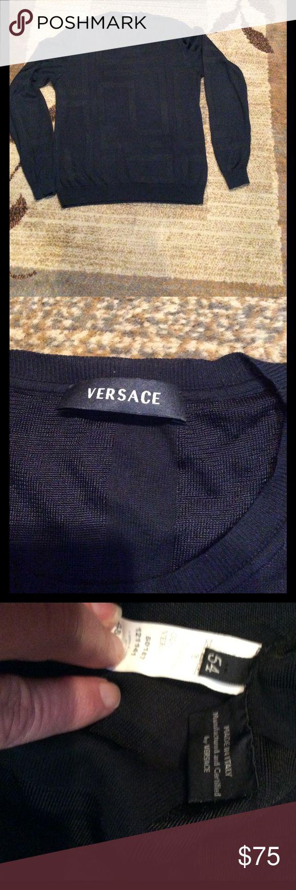 Men's Versace sweater Men's silk Versace sweater, navy blue, gently worn Versace Sweaters Crewneck