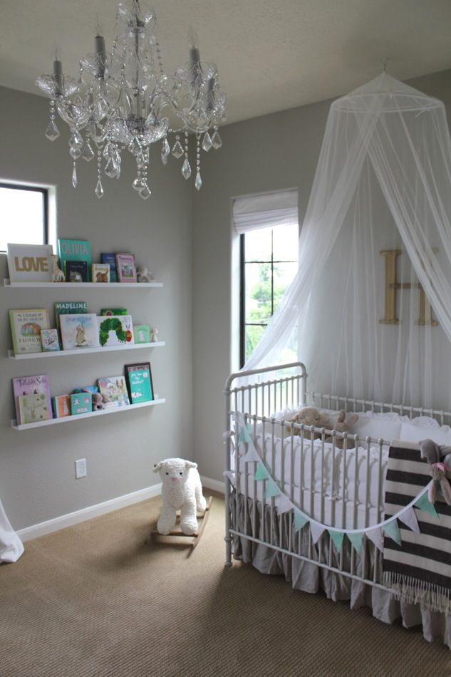 I love the sheers over the crib, really dresses up a simple white crib!