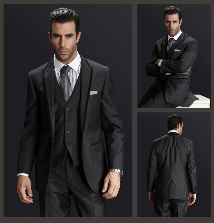 Hot Selling 3Pieces(Jacket+Pant+Vest+Tie)Black Peaked Lapel Fashion Men Suits Tailed Made Slim Fit Tuxedos High Quality Cheaper