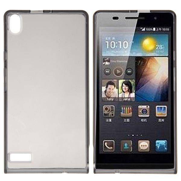 Flexibel hoesje zwart voor de Huawei Ascend P6