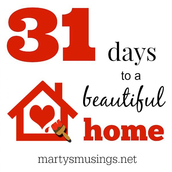 "Join blogger Marty's Musings on her journey of 31 days to a beautiful home. These practical tips will explore family culture, easy recipes, home decor, DIY projects, frugal living tips and more. Marty will answer the question ""what does home really mean""? Essays on homeschooling, adoption, letting go of adult children and more!"