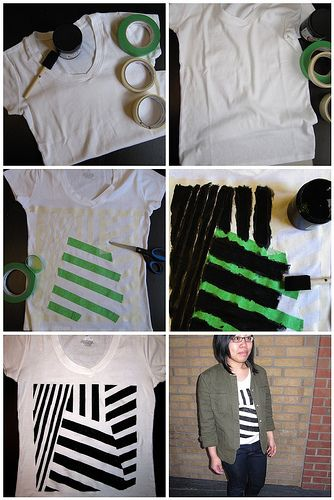 Sorry for the lack of posts in the past two days - just moved back into our dorms! 2nd Semester here we come! Anyways, here's an easy and awesome way to spice up a plain tee with some fabric paint and tape. You can create any pattern you want. Still Dottie has a photo tutorial here to show you how to make your own!