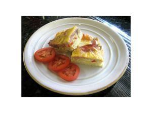 A Breakfast Lasagna With Hash Browns and Canadian Bacon: Breakfast Lasagna