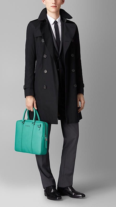 Opal green London Leather Crossbody Briefcase - Image 2