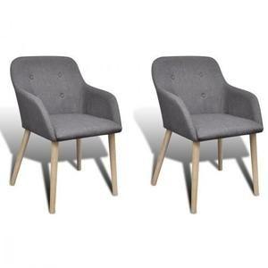 Set de 2 chaises gondole avec accoudoir en chêne en tissu gris foncé