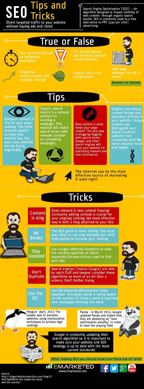 SEO Tips - We just created this great infographic that shows you a few of our tips and tricks about SEO. First, if you don't already know, search engine optimization (SEO) is basically an algorithm that affects how visible content is on the web.