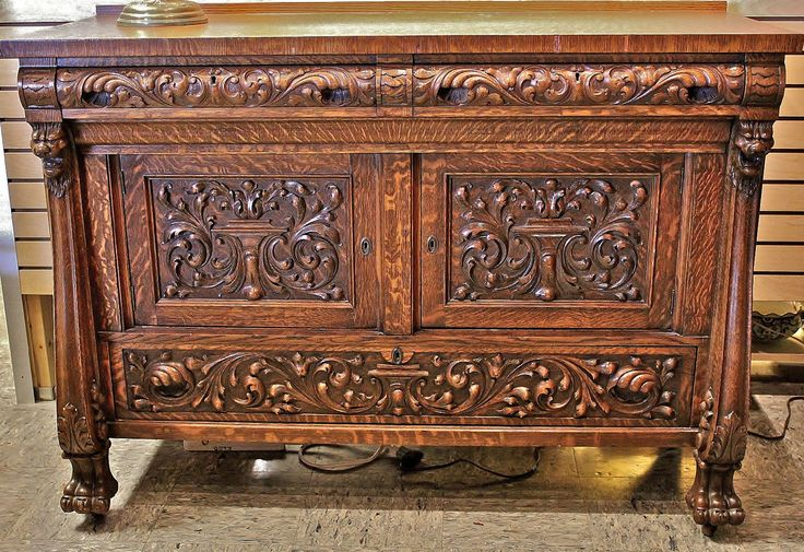 Victorian C 1890 RJ Horner Carved Tiger Oak Buffet Server Table w Secret Drawer | eBay