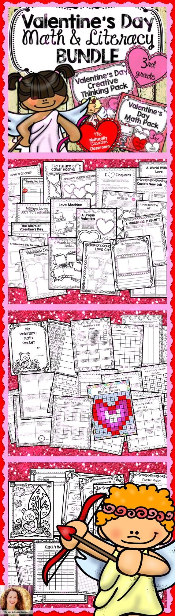 VALENTINE'S DAY MATH & LITERACY BUNDLE!!!  Your 3rd graders will fall in LOVE with these games, puzzles and creative thinking activities!  3rd Grade Common Core Aligned!