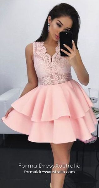 e8df694299347 Pink Formal Dresses 2019, Ball Gown Prom Dresses Short, Lace Party ...