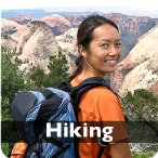 A woman hiking in Zion National Park
