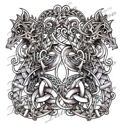 norse dragons serpents design snake