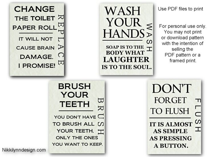 free bathroom printables...I finally found something to put in my frames in the bathroom Yes!